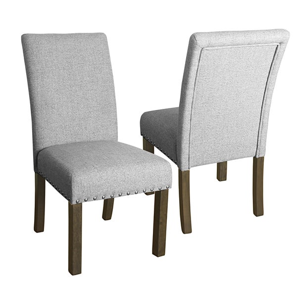 Merveilleux HomePop Michele Dining Chair With Nailhead Trim  Set Of 2  Marbled Gray
