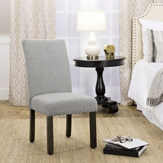 HomePop Michele Marbled Grey Slubby Linen Weave Fabric Dining Chair with Nailhead Trim (Set of 2)