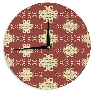 "Kess InHouse Mydeas ""Asian Motif Damask"" Red Pattern Wall Clock 12"""