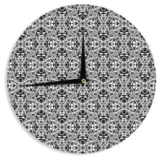 "Kess InHouse Mydeas ""Diamond Illusion Damask Black & White"" Pattern Wall Clock 12"""