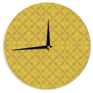 "Kess InHouse Mydeas ""Dotted Plaid"" Geometric Yellow Wall Clock 12"""