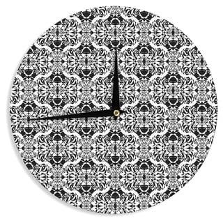 "Kess InHouse Mydeas ""Illusion Damask Black & White"" Monochrome Wall Clock 12"""