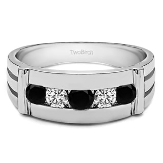 TwoBirch Sterling Silver Channel Set Men's Ring With Bars With Black And White Diamonds(0.17 Cts., black, I1-