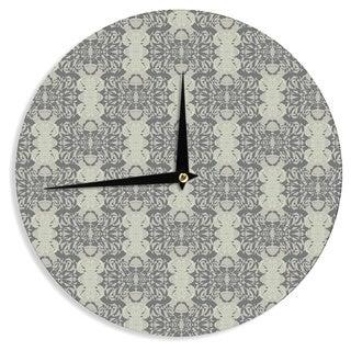 "Kess InHouse Mydeas ""Illusion Damask Silver"" Gray Wall Clock 12"""