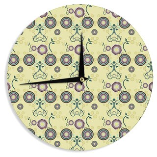 "Kess InHouse Mydeas ""Spring Florals"" Yellow Multicolor Wall Clock 12"""