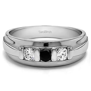 TwoBirch 10k White Gold Unique Three Stone Men's Fashion Ring or Mens Wedding Band With Black And White Diamo
