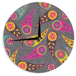 KESS InHouse Nandita Singh 'Bohemian II' Pink Yellow Wall Clock