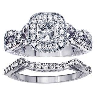 14k/ 18k Gold 2 1/4ct TDW Princess Cut Diamond Engagement Bridal Set in Braided Setting