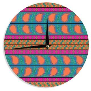 "KESS InHouse Nandita Singh 'Bohemian' Pink Yellow Wall Clock - Multi - 12"""