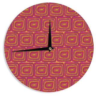 KESS InHouse Nandita Singh 'Bright Squares' Red Pink Wall Clock