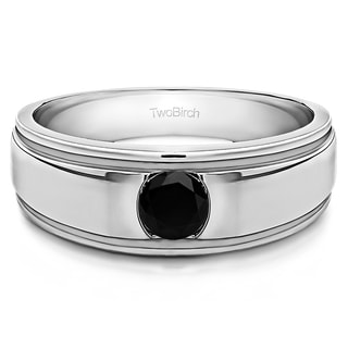 TwoBirch 10k White Gold Brushed Center Men's Ring With One Round Stone With Black Diamonds (0.25 Cts.)