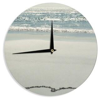 KESS InHouse Robin Dickinson 'I Love The Beach' Ocean Sand Wall Clock
