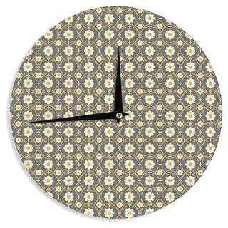 KESS InHouse Nandita Singh 'Floral Grey' Brown Pattern Wall Clock