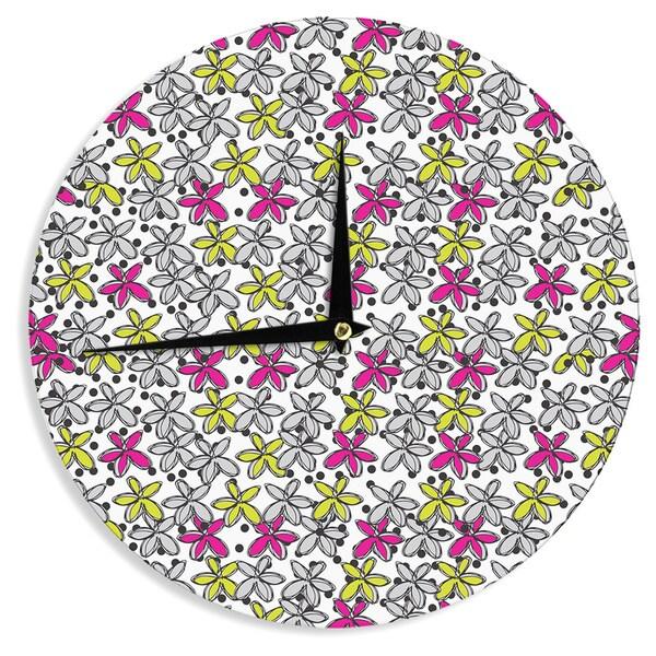 KESS InHouse Nandita Singh 'Floral Spread' Pink Yellow Wall Clock