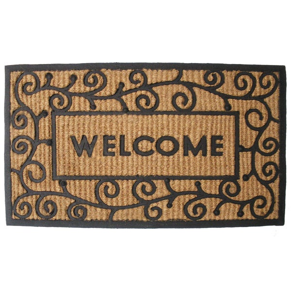 "J & M Home Fashions 7722 18"" X 30"" Natural Coir & Rubber Welcome Doormat"
