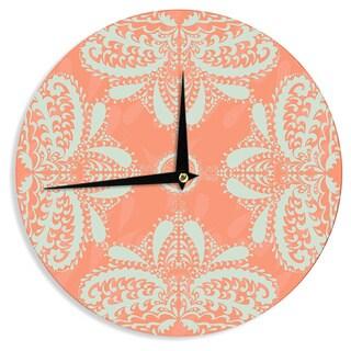 KESS InHouse Nandita Singh 'Motifs in Peach' Orange Floral Wall Clock