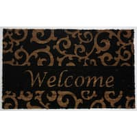 "J & M Home Fashions 4289 18"" X 30"" Vinyl Back Black Welcome Scroll Doormat"