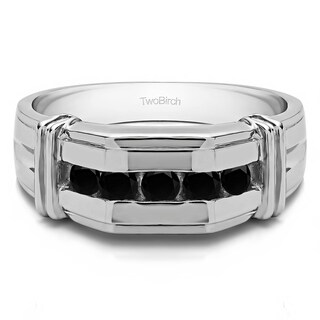 14k White Gold Channel Set Men's Ring With Bars With Black Diamonds (1 Cts.)