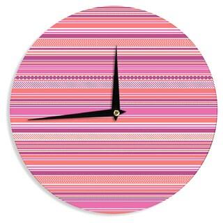 KESS InHouse Nandita Singh 'Pink Ribbons' Blush Purple Wall Clock