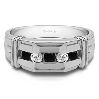 14k White Gold Channel Set Men's Ring With Bars With Black And White Diamonds(0.36 Cts., black, I1-I2)