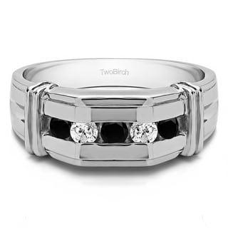 TwoBirch 14k White Gold Channel Set Men's Ring With Bars With Black And White Diamonds(1 Cts., black, I1-I2)