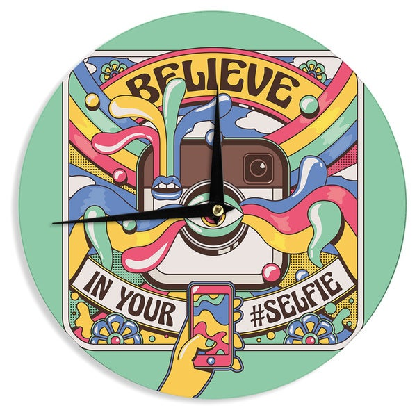 KESS InHouse Roberlan 'Selfie' Multicolor CameraWall Clock