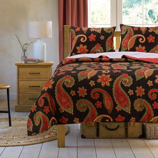 Greenland Home Fashions Midnight Paisley 3-piece Quilt Set