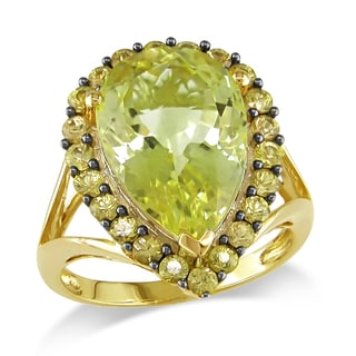Pear-Cut Lemon Quartz and Yellow Sapphire Cocktail Ring in 14k Yellow Gold by The Miadora Signature Collection