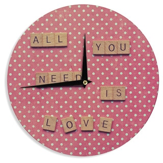 KESS InHouse Nastasia Cook 'All You Need Is Love' Pink Brown Wall Clock