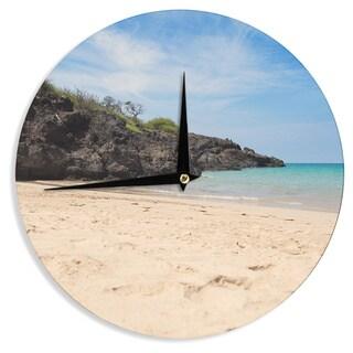 KESS InHouse Nastasia Cook 'Hapuna Beach' Brown Blue Wall Clock