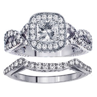 Platinum 2 1/4ct TDW Princess Cut Diamond Engagement Bridal Set in Braided Setting (G-H, SI1-SI2)