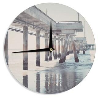 KESS InHouse Nastasia Cook 'The Pier' Brown Gray Wall Clock