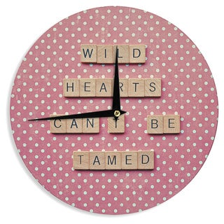 KESS InHouse Nastasia Cook 'Wild Hearts Can't Be Tamed' Pink Dots Wall Clock