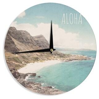 KESS InHouse Nastasia Cook 'Aloha' Mountain Beach Wall Clock