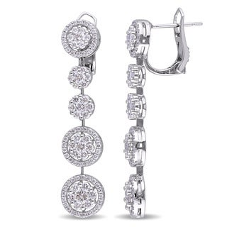 Miadora Signature Collection 18k White Gold 2 4/5ct TDW Diamond Tiered Circle Drop Earrings (G-H, SI1-SI2)