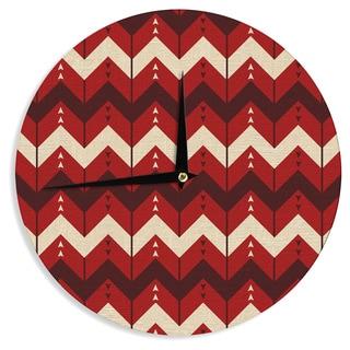 KESS InHouse Nick Atkinson 'Chevron Dance Red' Wall Clock
