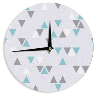 KESS InHouse Nick Atkinson 'Triangle Love II' Gray TealWall Clock