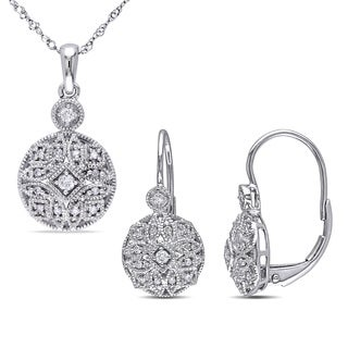 Miadora 14k White Gold 1/3ct TDW Diamond Vintage Necklace and Leverback Earrings 2-Piece Set