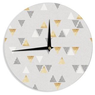 KESS InHouse Nick Atkinson 'Triangle Love' Gray GoldWall Clock