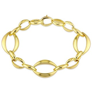 Miadora Signature Collection 18k Yellow Gold Adjustable Geometric Oval Link Bracelet