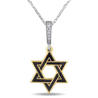 Miadora 18k 2-Tone White and Yellow Gold Diamond Accent Star of David Necklace (G-H, SI1-SI2)