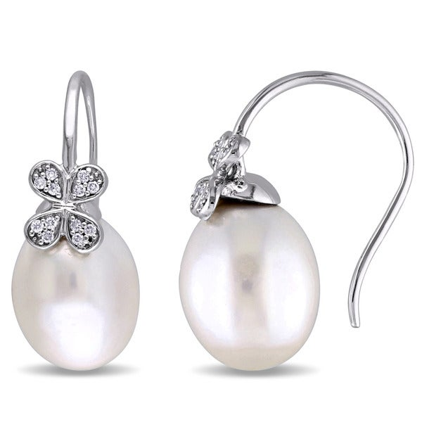 8e893e758 Shop Miadora Signature Collection 14k White Gold South Sea Cultured Pearl  and 1/8ct TDW Diamond Clover Hook Earrings (11.5 - 12mm) - On Sale - Free  Shipping ...
