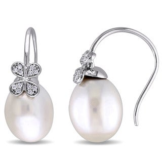 Miadora Signature Collection 14k White Gold South Sea Cultured Pearl and 1/8ct TDW Diamond Clover Hook Earrings (11.5 - 12mm)