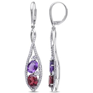 Miadora Garnet Amethyst White Sapphire 3/4ct TDW Diamond Twisted Dangle Earrings in 14k White Gold (G-H, SI1-SI2)