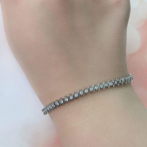 Miadora 14k White Gold 1 1/10ct TDW Diamond Tennis Bracelet
