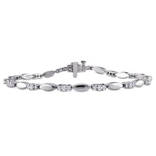 Miadora Signature Collection 14k White Gold 4/5ct TDW Diamond Patterned Bracelet (G-H, SI1-SI2)