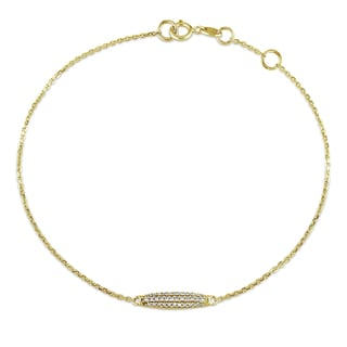 1/10ct TDW Pave Diamond Oval Charm Bracelet in 14k Yellow Gold by Miadora