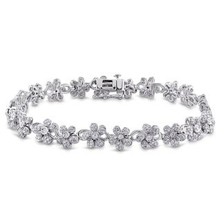 Miadora Signature Collection 14k White Gold 2 5/8ct TDW Diamond Floral Link Tennis Bracelet (G-H, I1-I2)