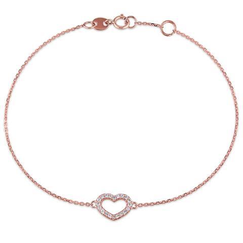 Miadora 1/10ct TDW Diamond Open-Heart Charm Bracelet in 14k Rose Gold