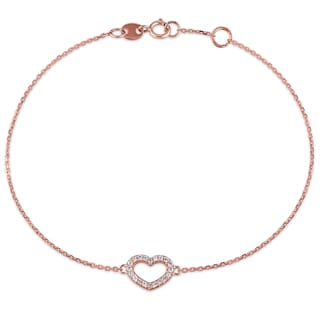 1/10ct TDW Diamond Open-Heart Charm Bracelet in 14k Rose Gold by Miadora